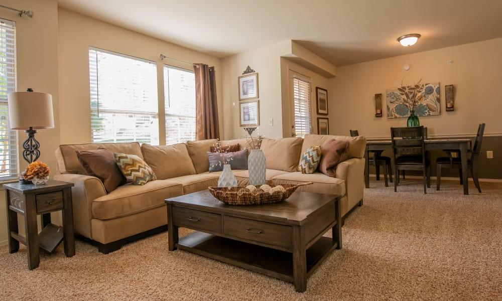 Large windows in living room at Park at Tuscany in Oklahoma City, Oklahoma