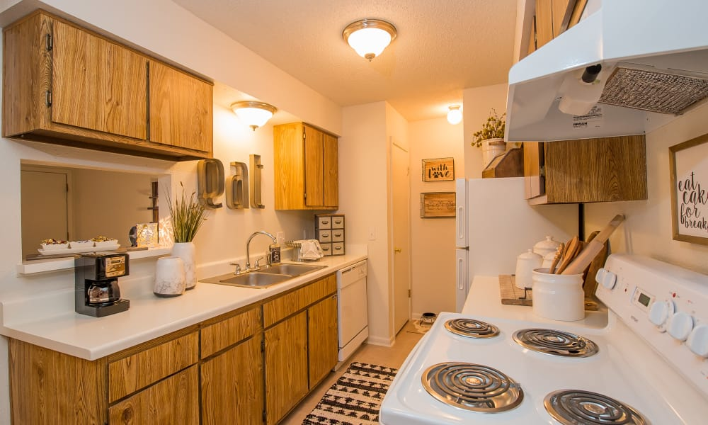 Fully equipped kitchen at Waters Edge in Oklahoma City, Oklahoma