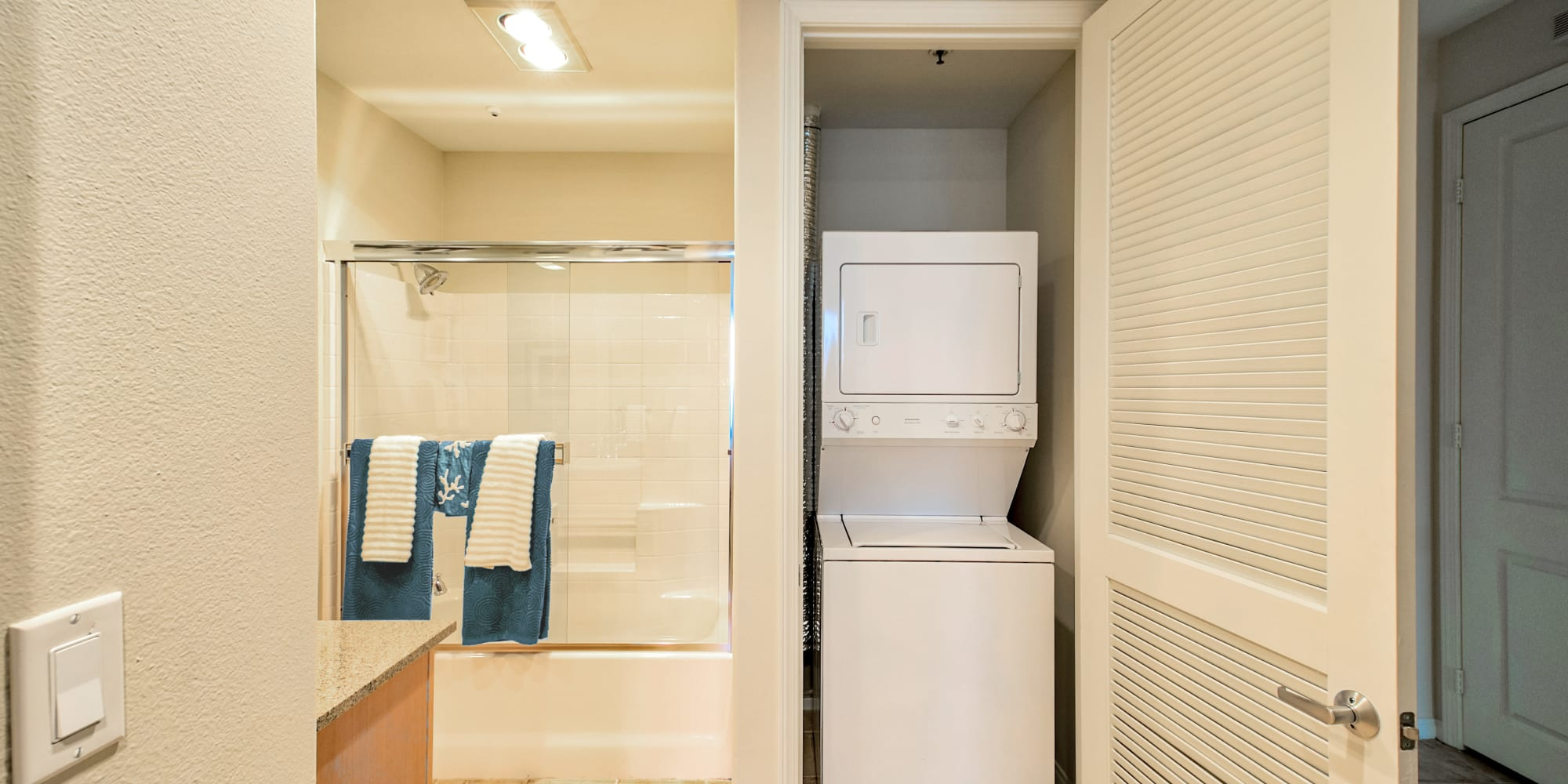 In-unit washer and dryer in a model home at The Villa at Marina Harbor in Marina del Rey, California