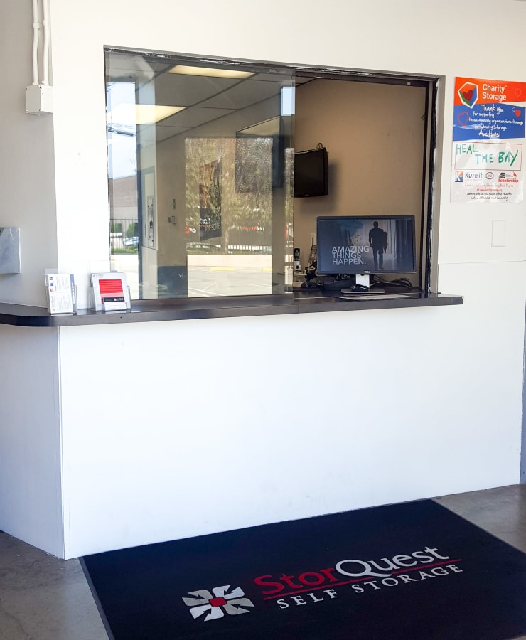 Interior of the leasing office at StorQuest Self Storage in Torrance, California