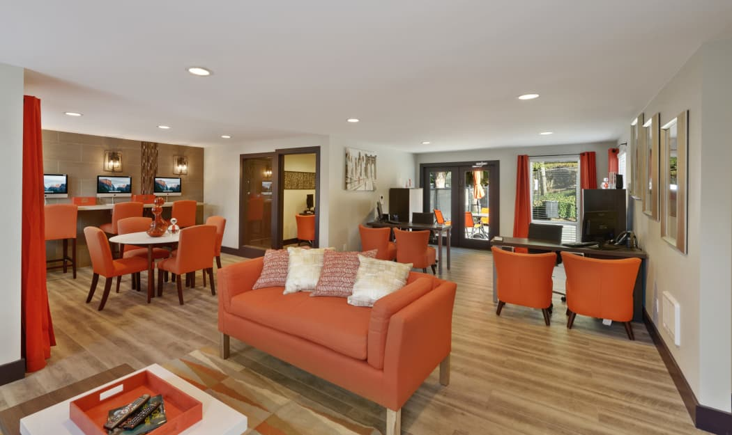 Interior view of our beautifully designed resident clubhouse at The Row