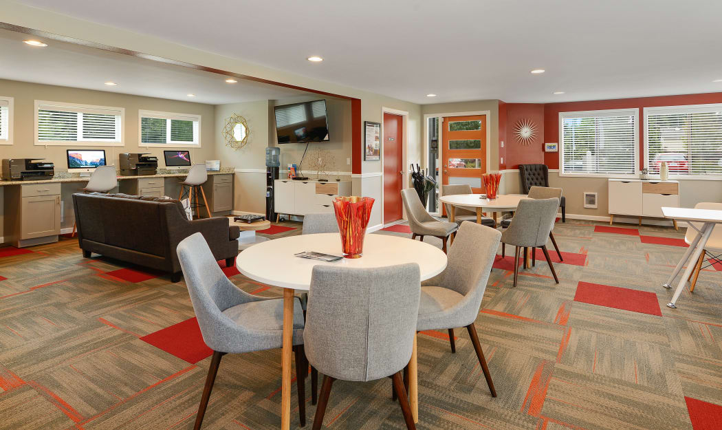 Interior view of the beautifully designed resident clubhouse at The Union