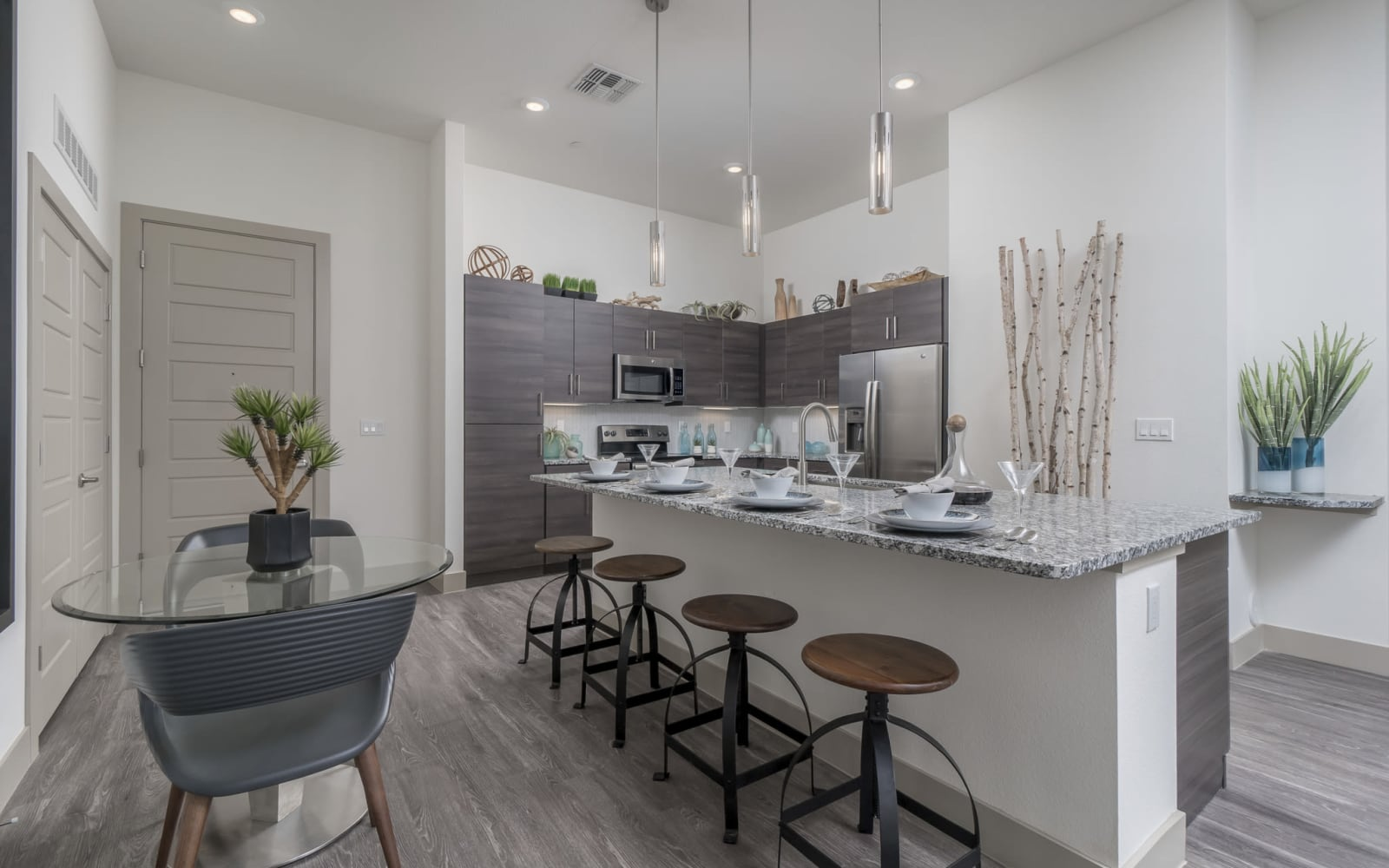 Seating in the dining room and kitchen at The District at Scottsdale in Scottsdale, Arizona
