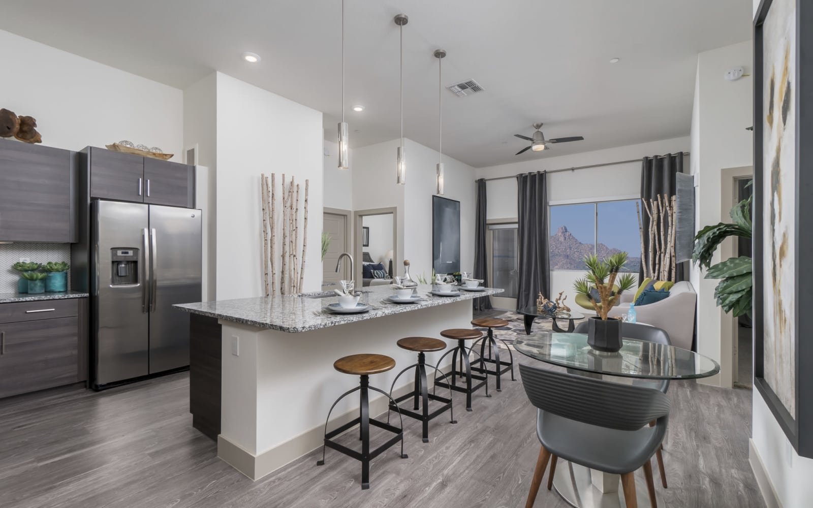 Modern kitchen with upgraded appliances at The District at Scottsdale in Scottsdale, Arizona