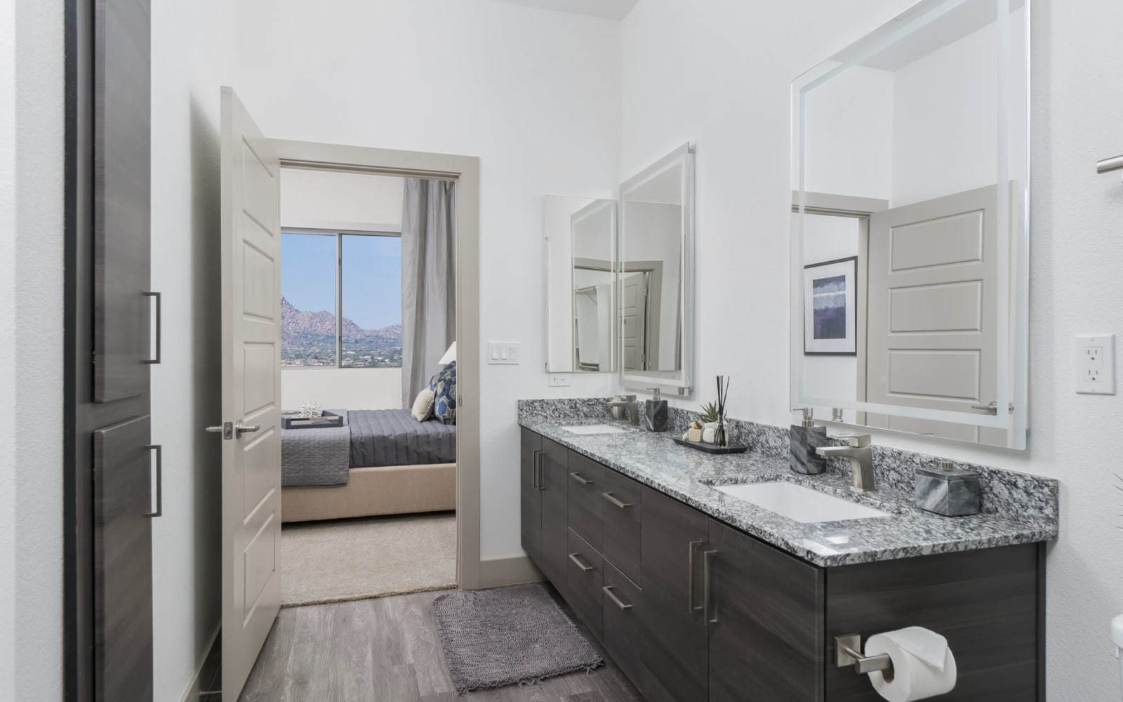 Granite counter tops with dual sinks in the bathroom at The District at Scottsdale in Scottsdale, Arizona