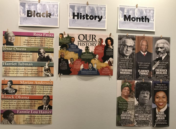 A Black History Month display was put up on the wall at Carolina Park.