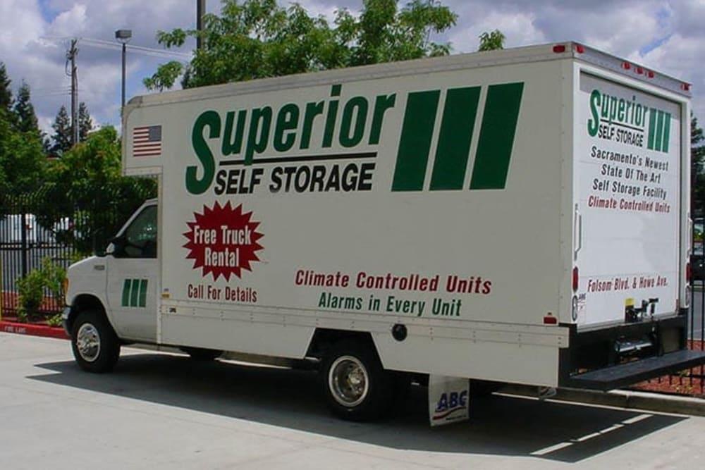 Moving truck at Superior Self Storage in Sacramento, California