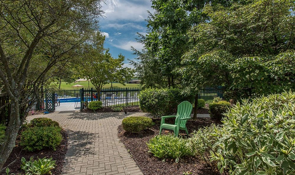 Path to the swimming pool at Steeplechase Apartments in Camillus, New York