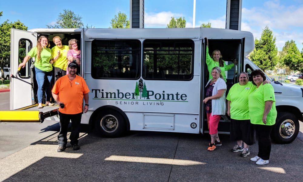 Bus at Timber Pointe Senior Living in Springfield, Oregon