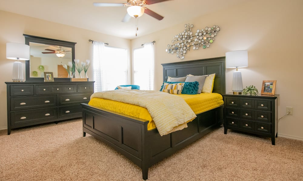 Bright bedroom with ample space at Park at Mission Hills in Broken Arrow, Oklahoma