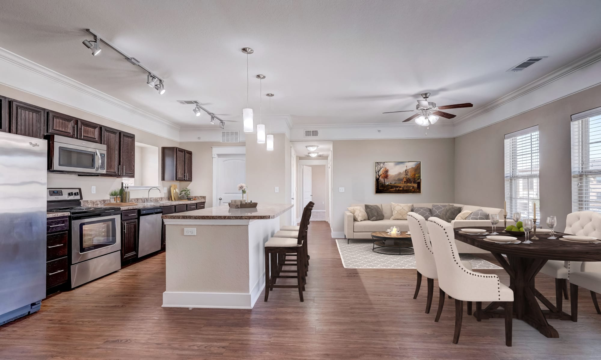 Farmhouse style eat in kitchen and living room