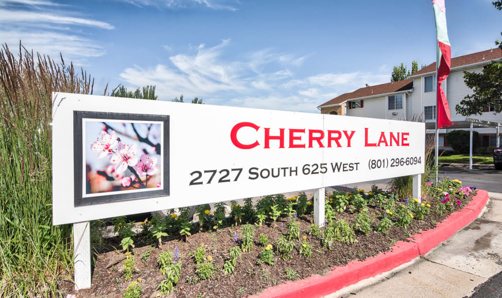 Monument Sign at Cherry Lane Apartment Homes in Bountiful