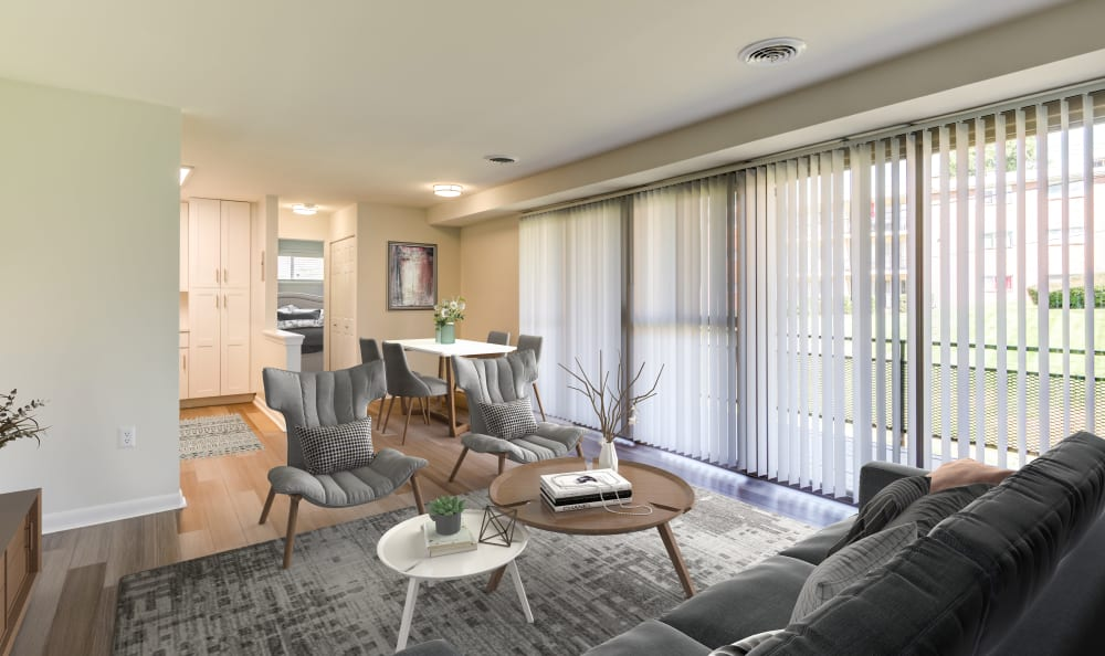 Floor to ceiling windows provide tons of natural light at Capital Crossing in Suitland, Maryland