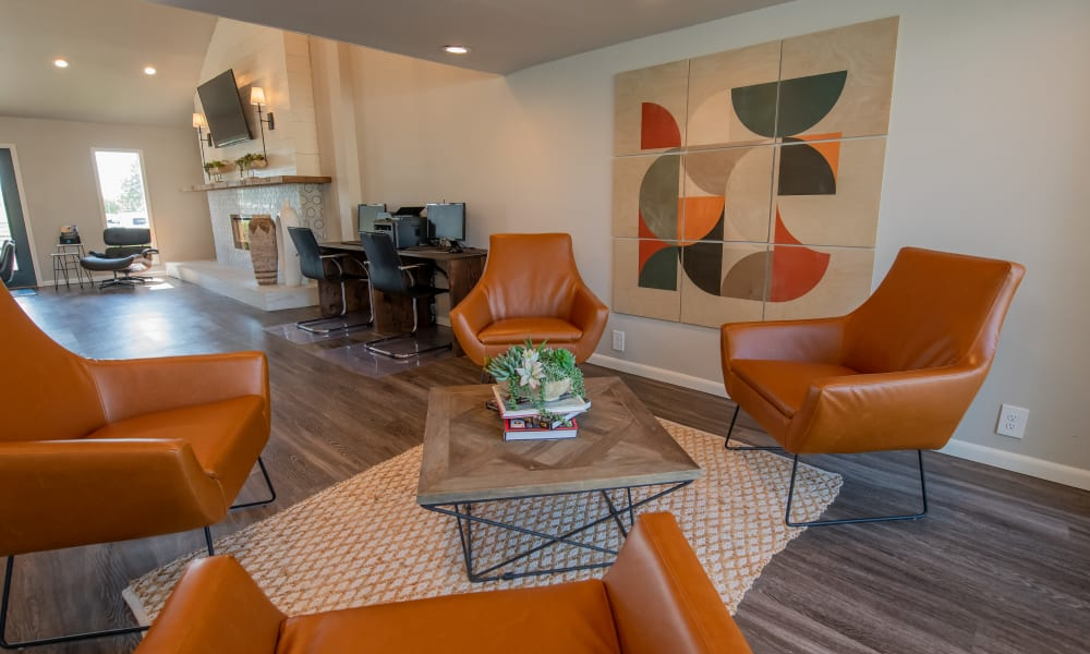 Table and chairs for resident seating at Fox Run Apartments in Wichita, Kansas