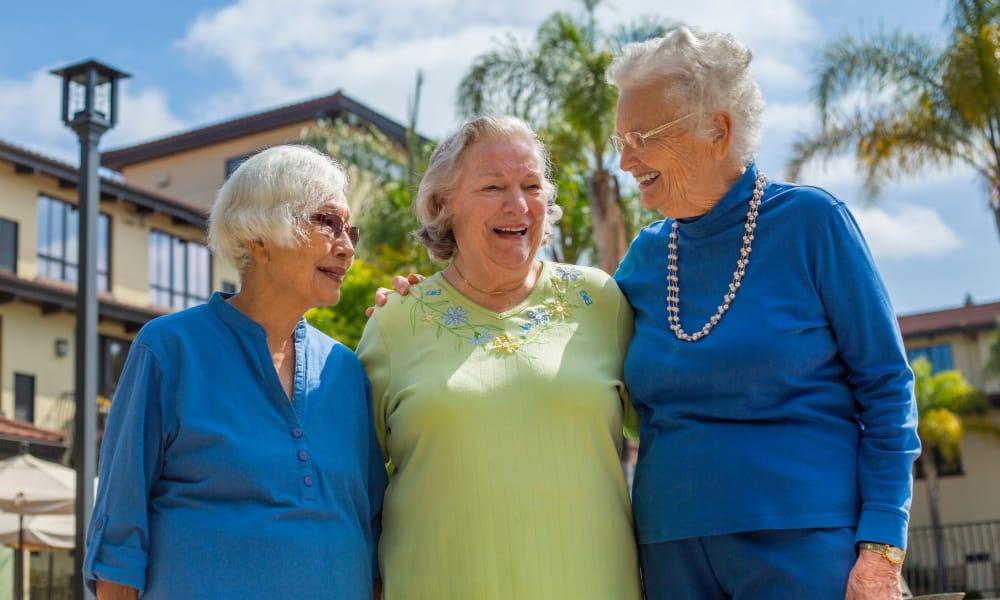 group of senior residents enjoying the weather