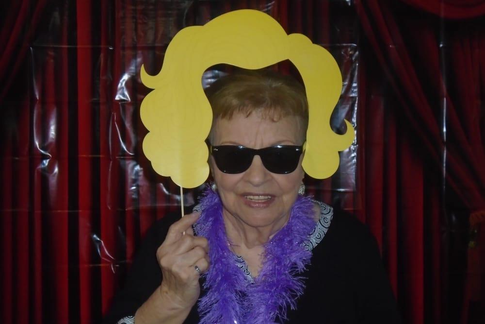 senior resident taking a funny photo