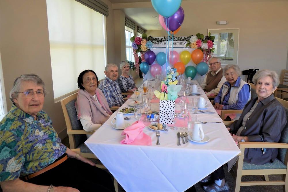celebrating June birthdays at Merrill Gardens at Rockridge in Oakland, California.