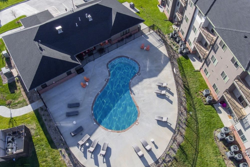 Aerial view of the pool at The Summit at Sunnybrook Village in Sioux City, Iowa