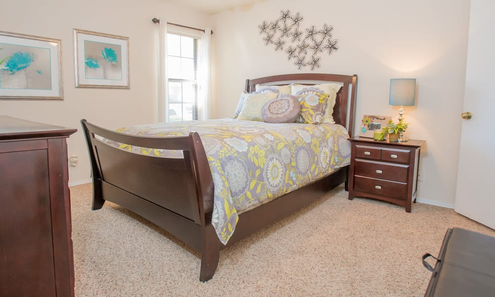 Bright bedroom at at Barrington Apartments in Tulsa, Oklahoma