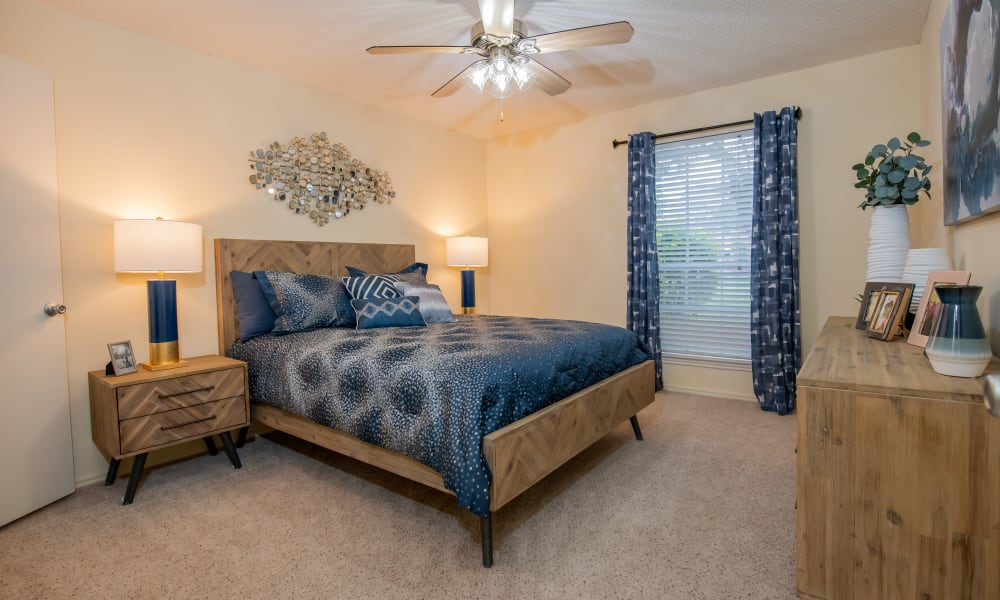 Beautiful master bedroom at Newport Apartments in Amarillo, Texas