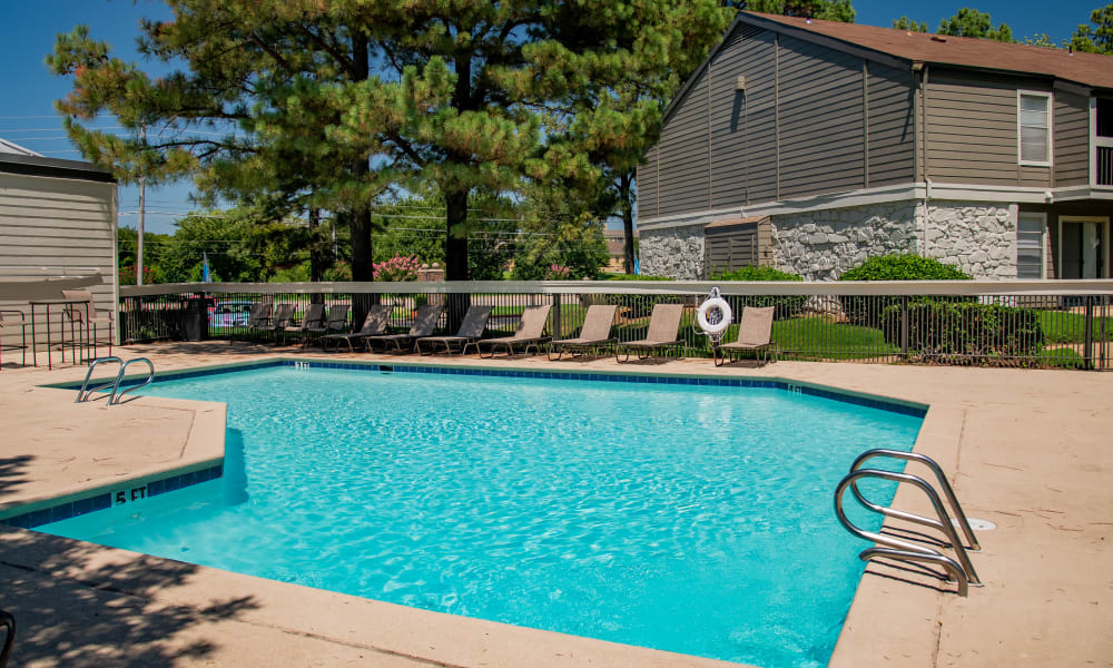 Sparkling pool at Eagle Point Apartments in Tulsa, Oklahoma