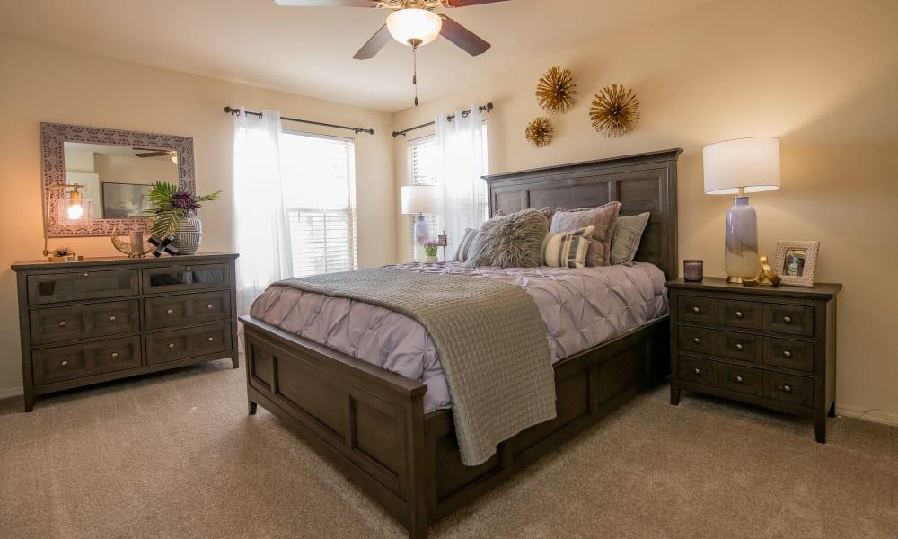An apartment bedroom at Tuscany Hills in Tulsa, Oklahoma