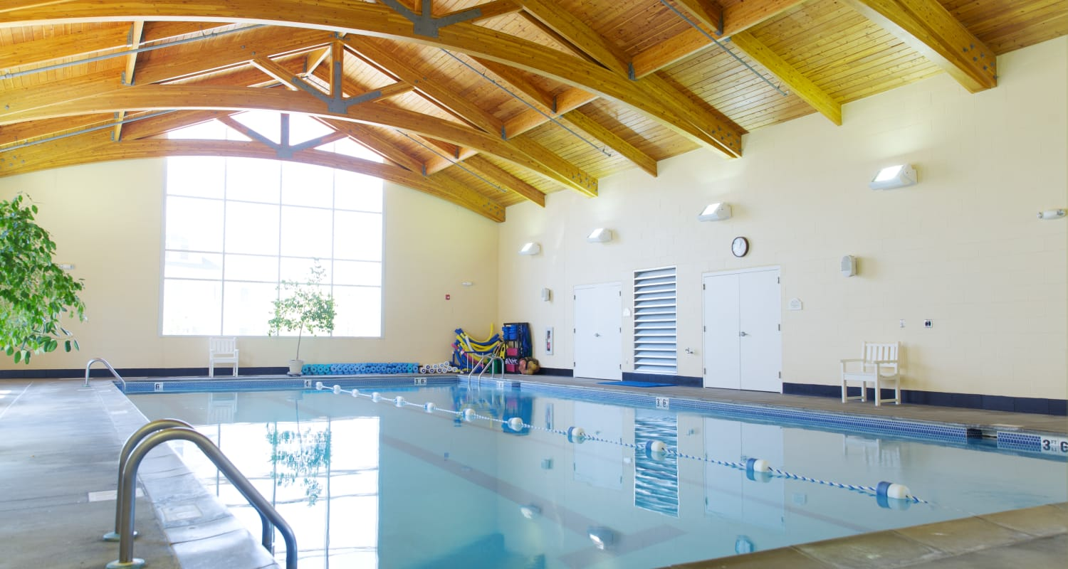 The two lane pool at Touchmark at Harwood Groves Health & Fitness Club in Fargo, North Dakota