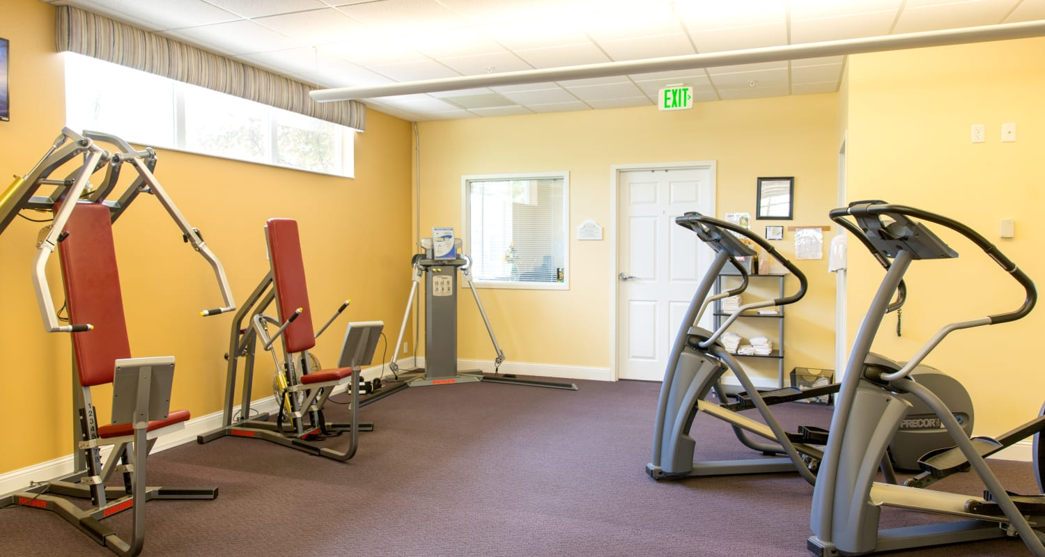 Exercise machines at Touchmark at Harwood Groves Health & Fitness Club in Fargo, North Dakota