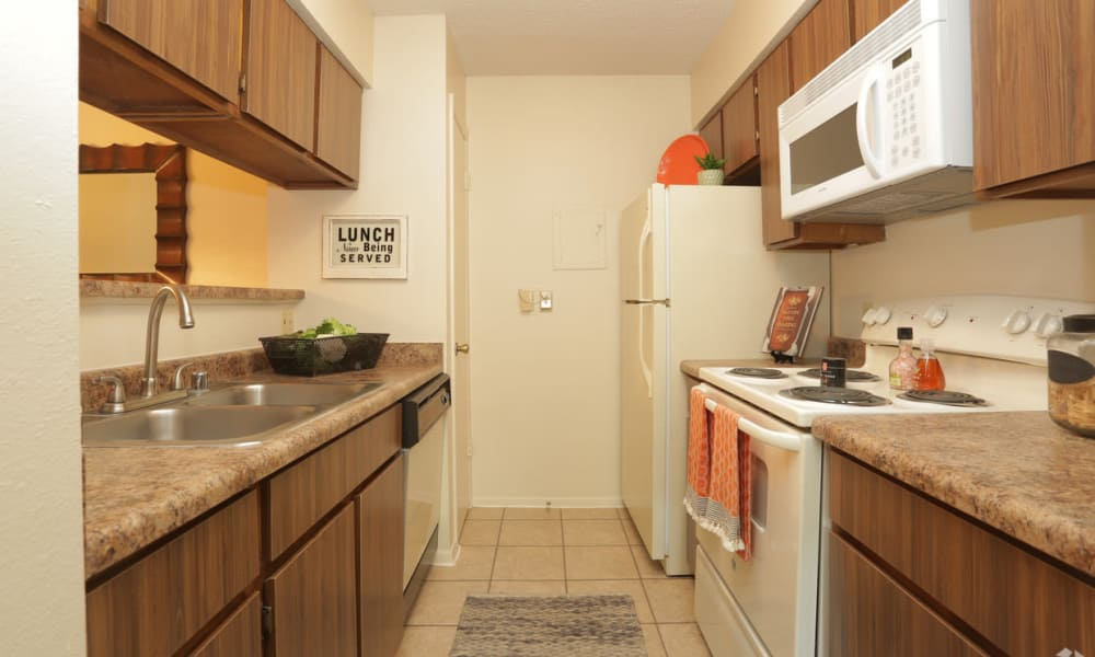 Well-lit kitchen at High Ridge Apartments in El Paso, Texas
