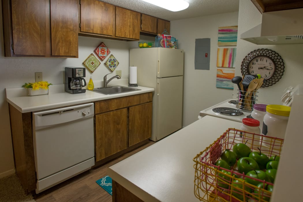 Spacious kitchen at Cimarron Trails Apartments in Norman, Oklahoma