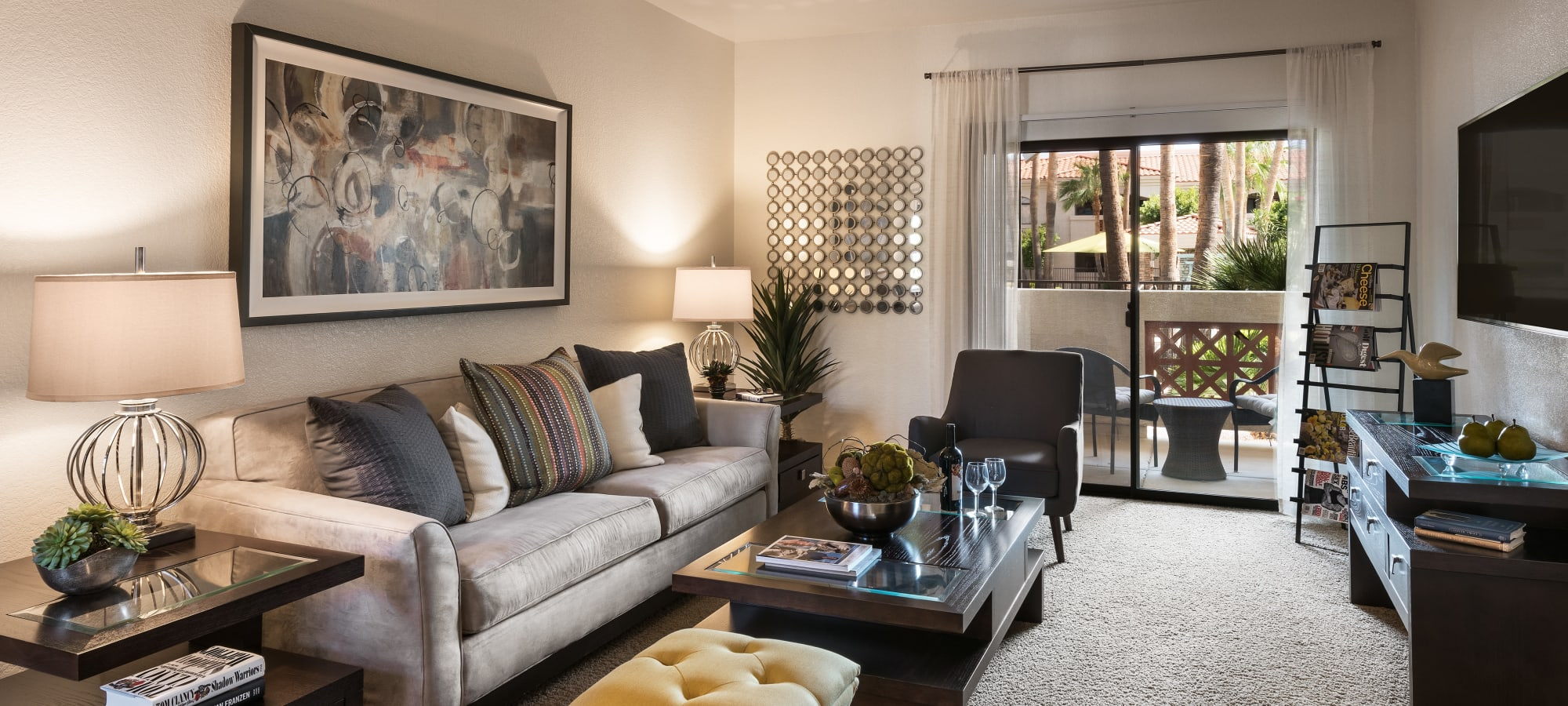 Luxury living room at San Prado in Glendale, Arizona