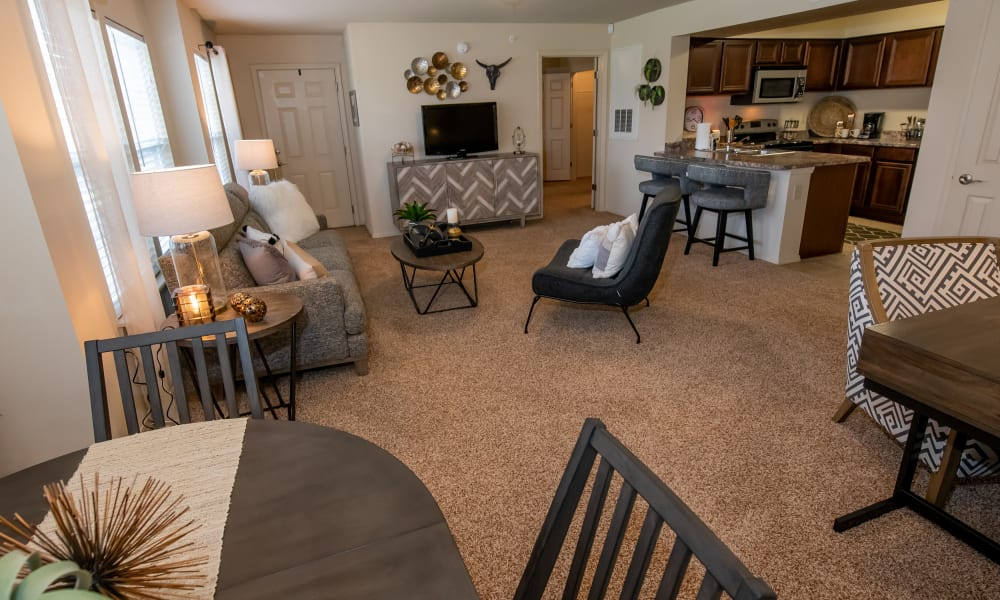 Open dining room, living room and kitchen floor plan at Park at Mission Hills in Broken Arrow, Oklahoma