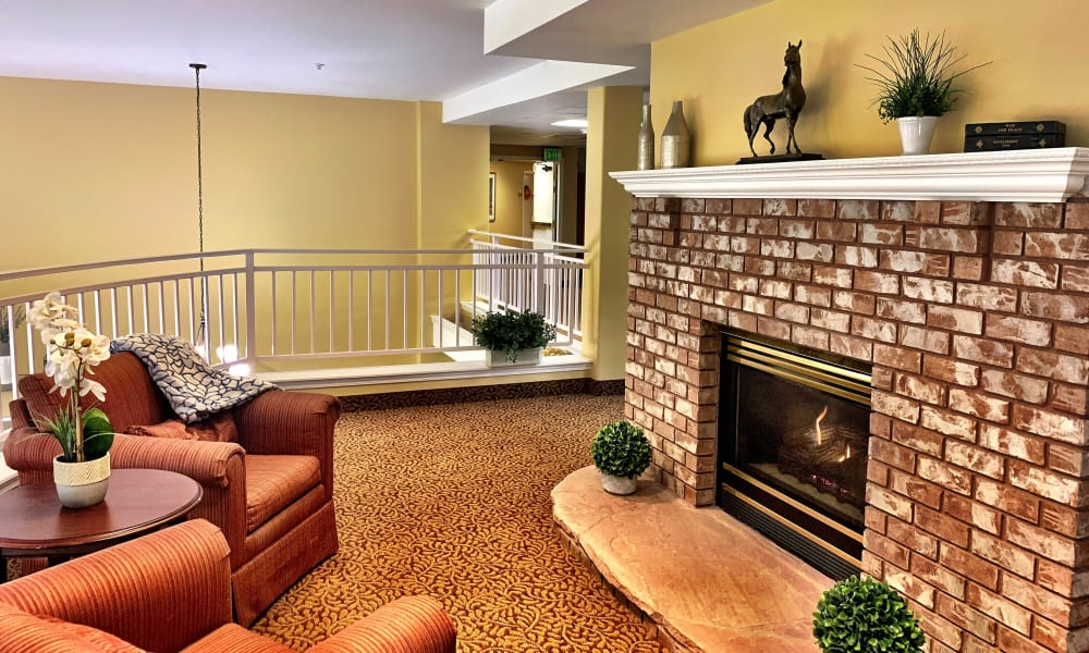 Fireplace at Maple Ridge Senior Living