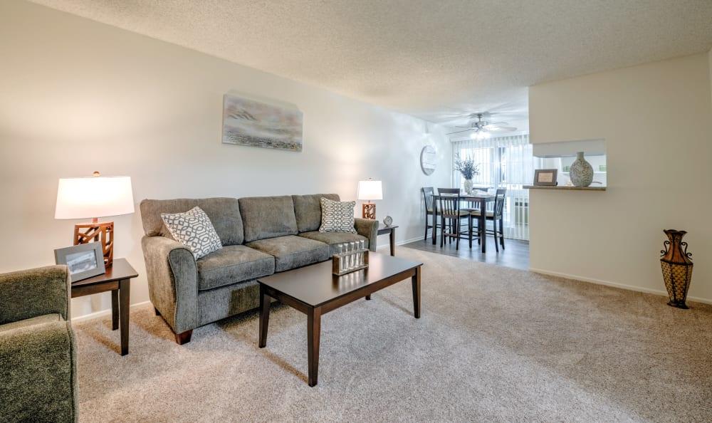 Naturally lit living room at The Windsor in Sherman Oaks, California