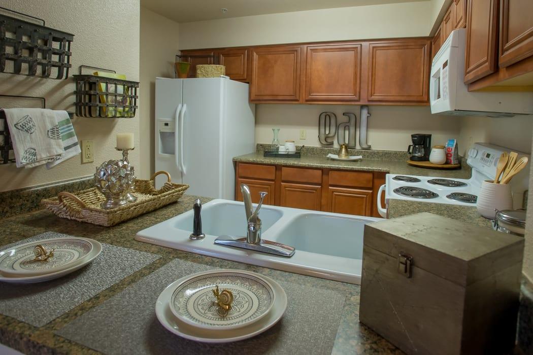 Spacious kitchen at Villas of Waterford Apartments in Wichita, Kansas