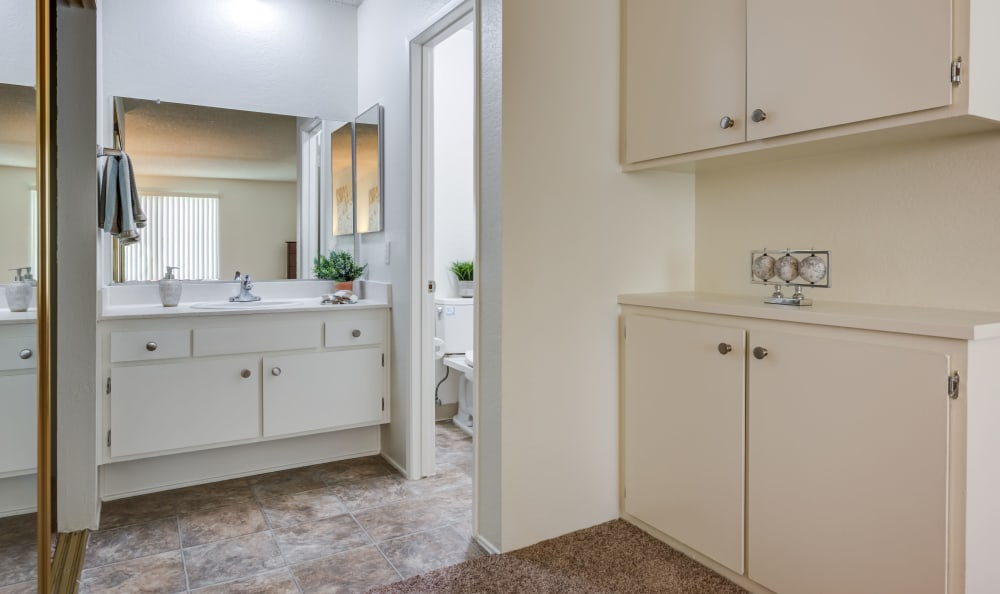 Townhome bathroom, closet and storage at  The Terrace in Tarzana, California