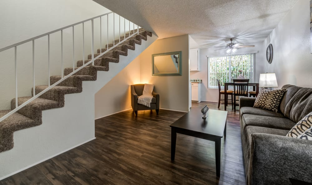 Townhome staircase at The Newporter in Tarzana, California