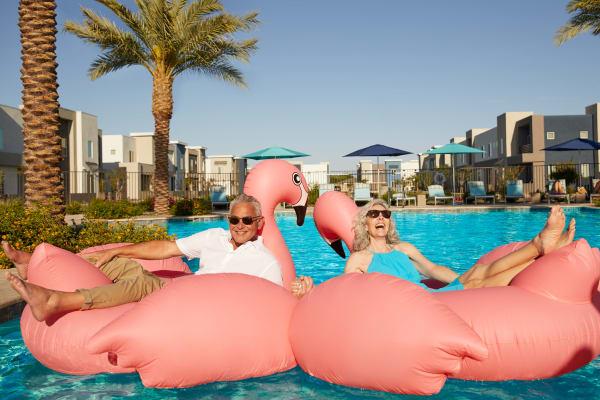 Residents enjoying the pool at BB Living at Eastmark in Mesa, Arizona
