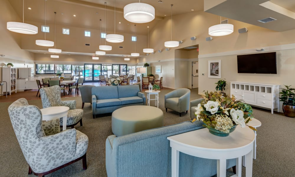 Resident community area at Merrill Gardens at Rancho Cucamonga in Rancho Cucamonga, California.