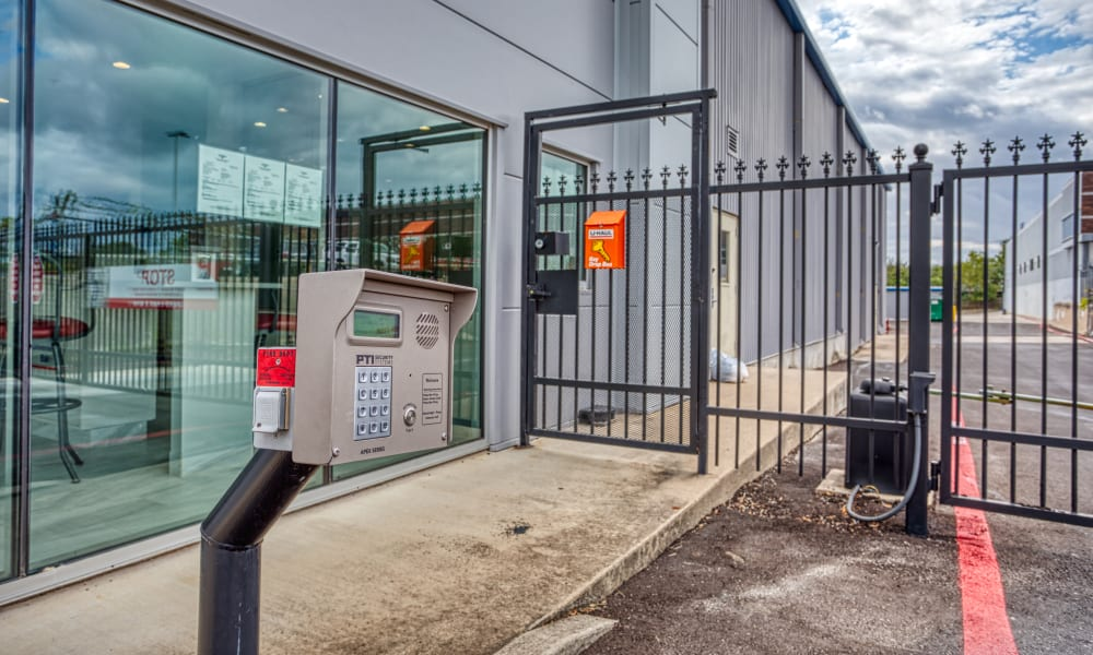 Keypad for gated entry at Devon Self Storage in Yukon, Oklahoma