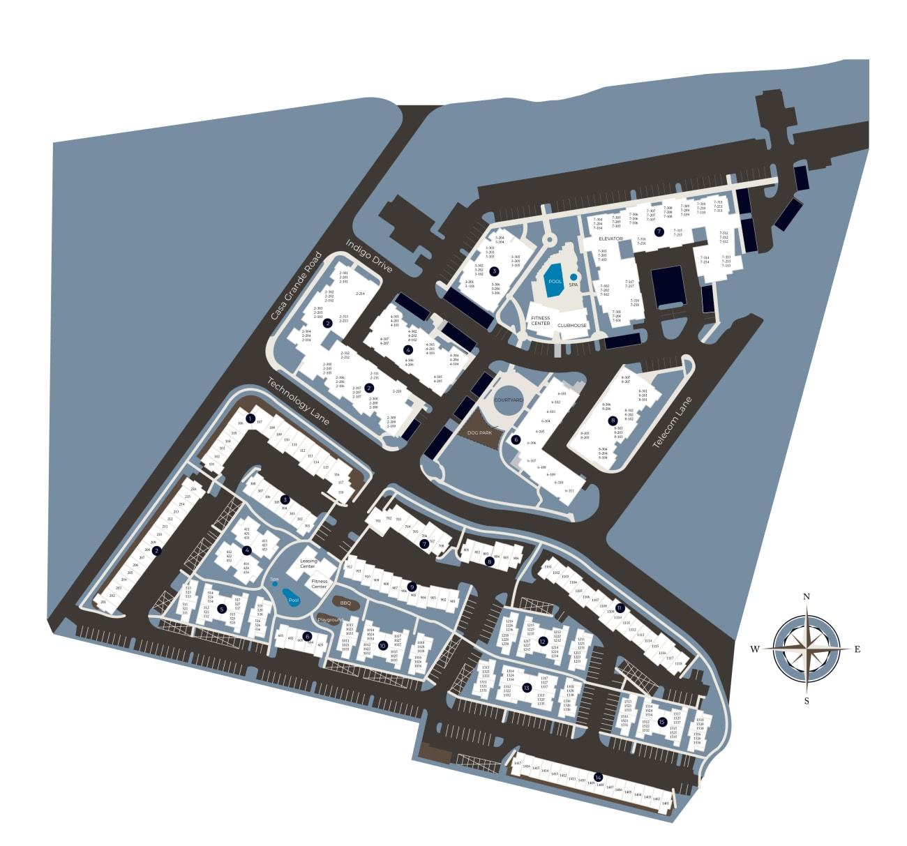 Community site map for Azure Apartment Homes in Petaluma, California