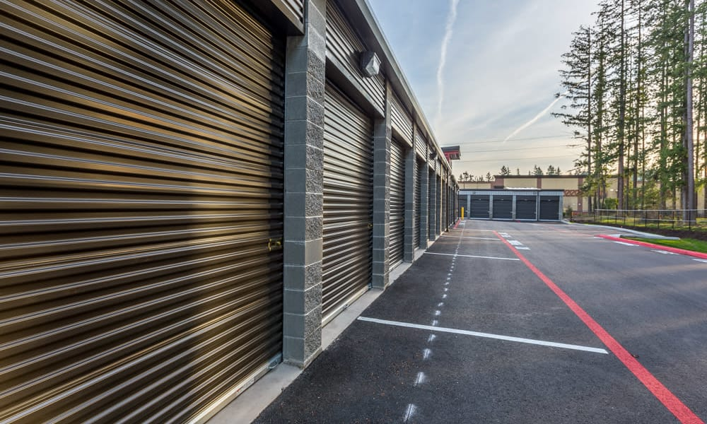 Secure roll up doors and lighting at Raceway Heated Storage - Covington in Covington, Washington
