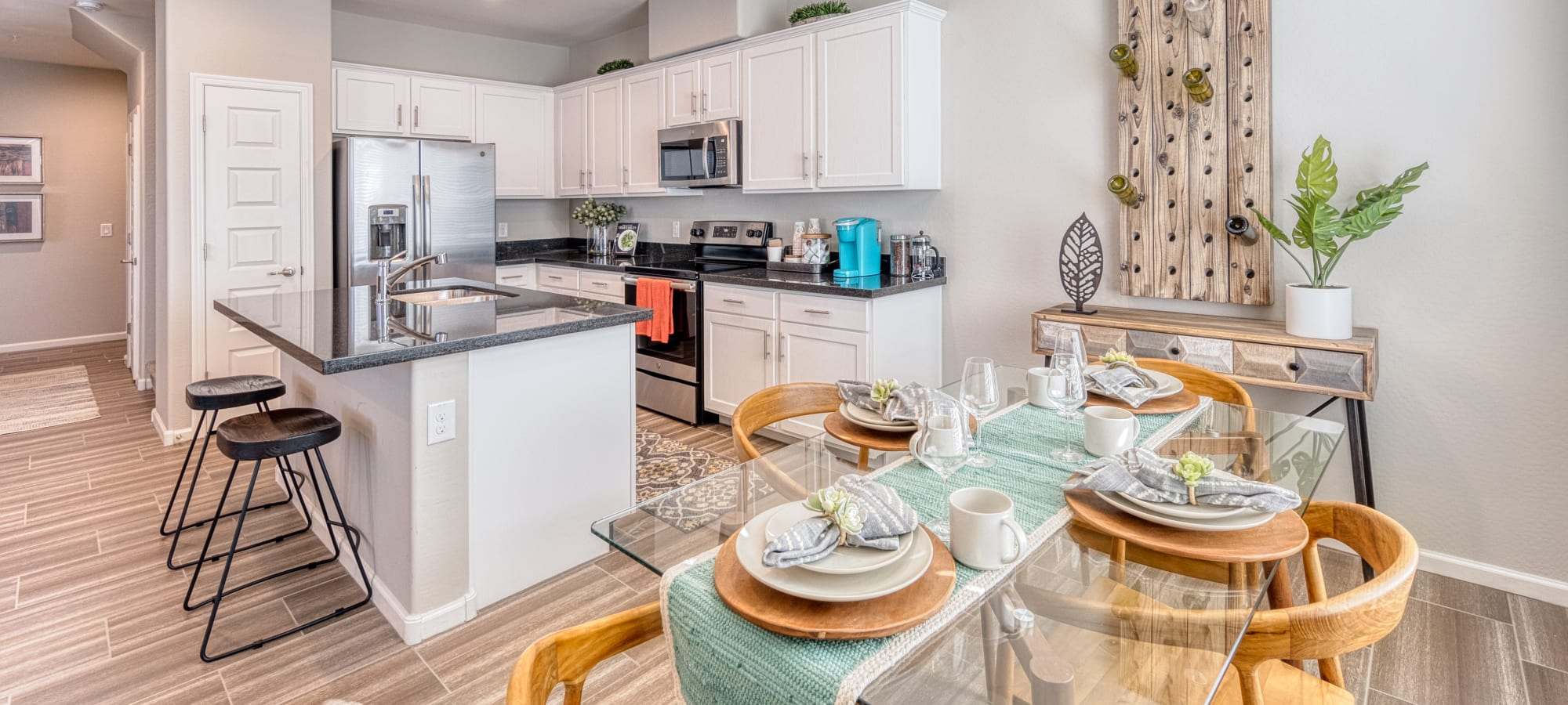 Well decorated kitchen and dining area at BB Living at Val Vista in Gilbert, Arizona