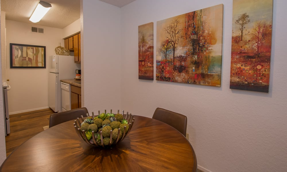 Dining room and kitchen at Windsail Apartments in Tulsa, Oklahoma