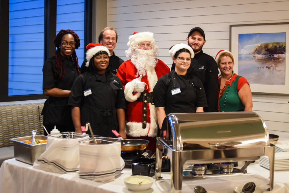 Santa and team members at party in Carolina Park, SC