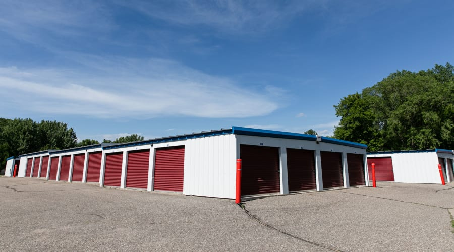 Storage units with red doors and locks at KO Storage of Annandale - Office in Annandale, Minnesota