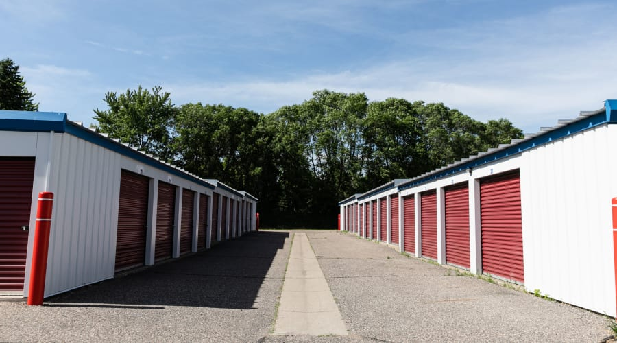 Storage units with red doors at KO Storage of Annandale - Office in Annandale, Minnesota