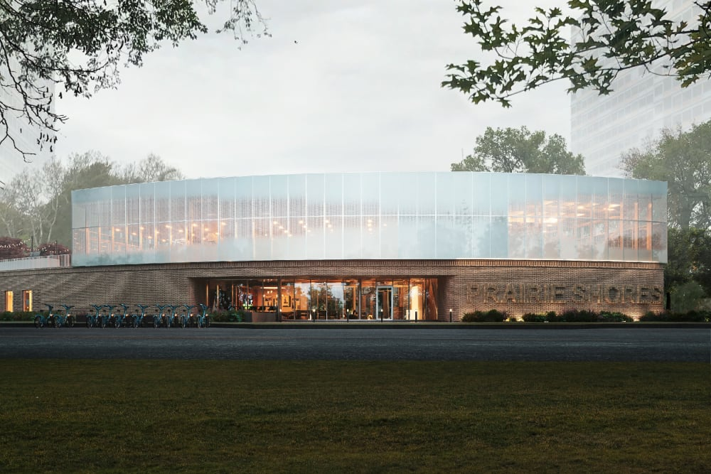 Rendering of the Front exterior at dawn at Prairie Shores