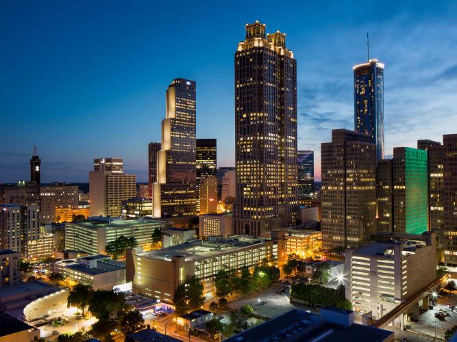 Night time photo of Atlanta, GA