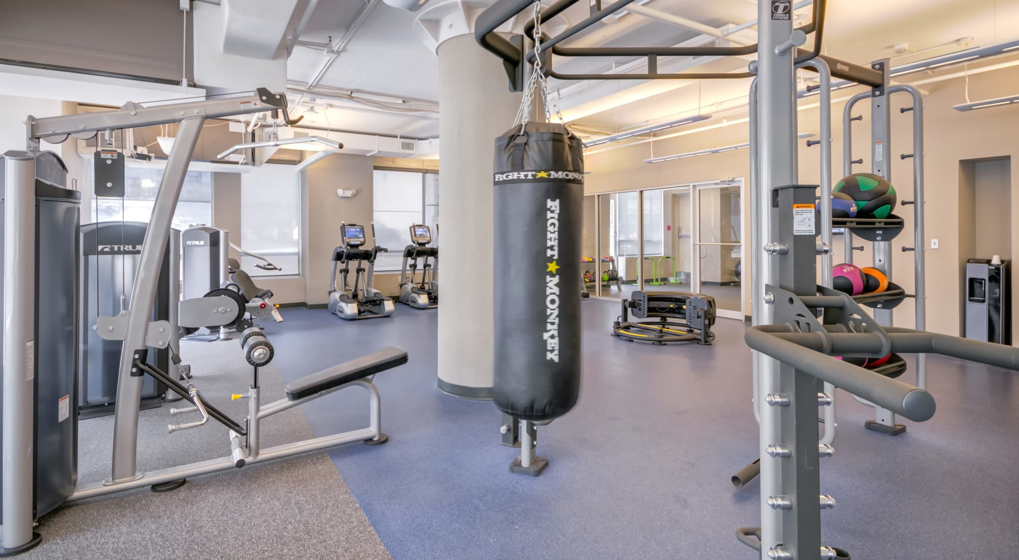 Modern fitness center at Baltimore, Maryland, apartments at 222 Saratoga